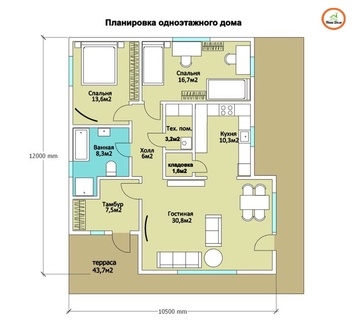 План 1 этажа каркасного дома Z-141