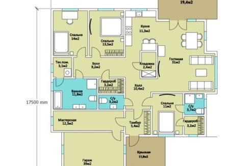 План 1 этажа каркасного дома Z-207