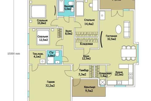 План 1 этажа каркасного дома Z-19