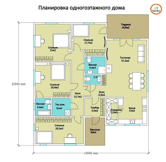 План 1 этажа каркасного дома Z-200