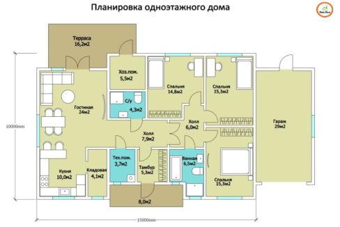 План 1 этажа каркасного дома Z-98