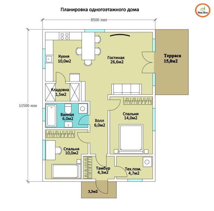 План 1 этажа каркасного дома Z-254