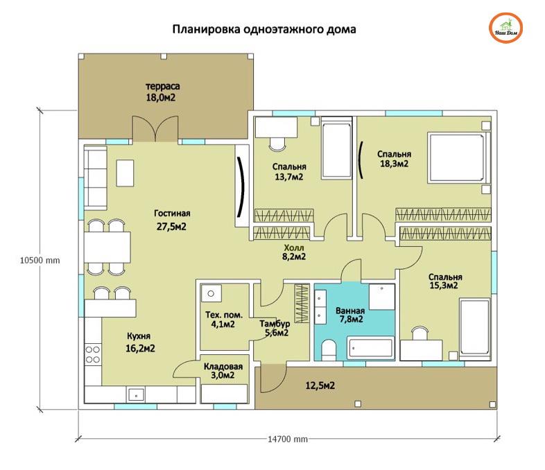 План 1 этажа каркасного дома Z-176