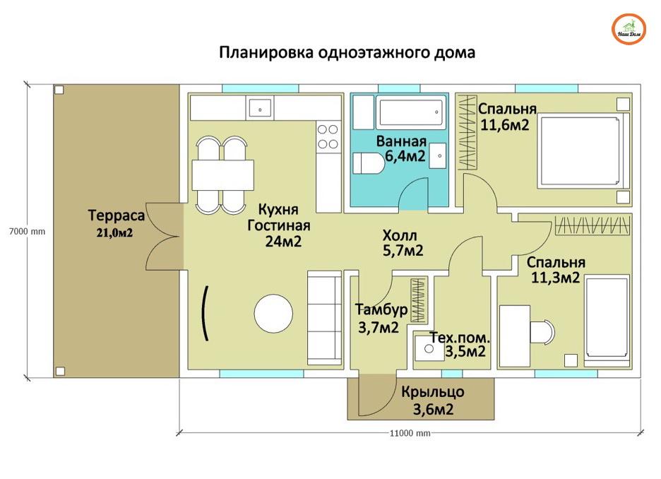 План 1 этажа каркасного дома Z-139
