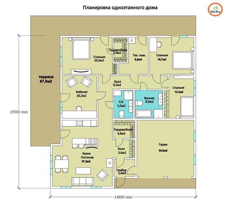 План 1 этажа каркасного дома Z-196