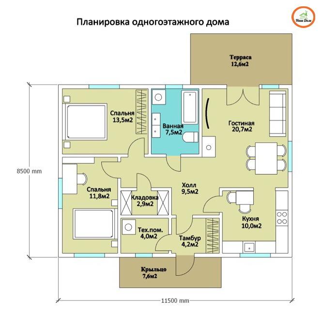 План 1 этажа каркасного дома Z-253
