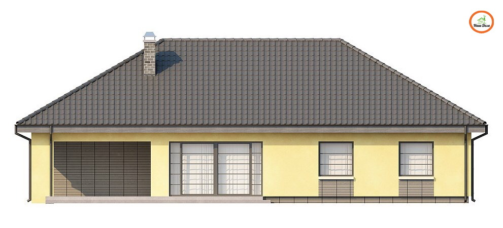 Фасад 3 каркасного дома Z-123