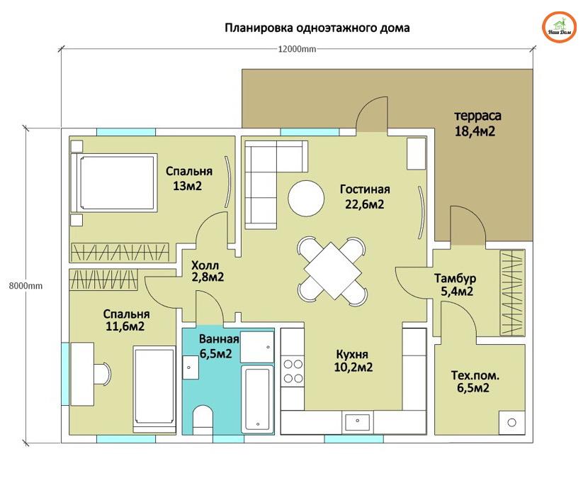 План 1 этажа каркасного дома Z-87