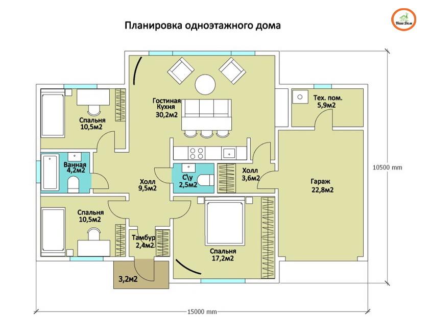 План 1 этажа каркасного дома Z-151