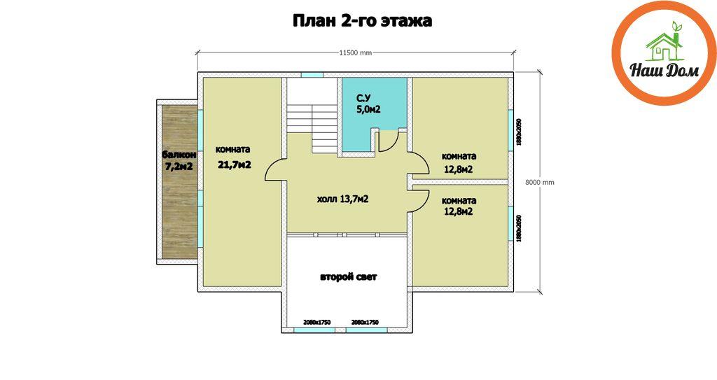 План 2 этажа каркасного дома Д-66