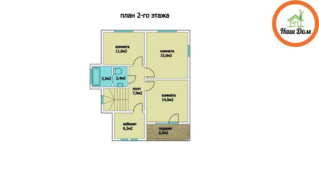 План 2 этажа каркасного дома Д-65
